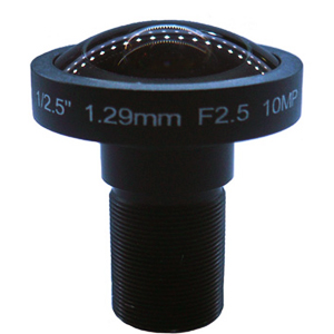 1.29mm 10Megapixel 185degree Fisheye lens